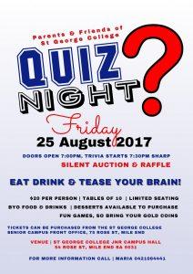 P&F Quiz Night - Friday 25 August @ St George College Junior Campus